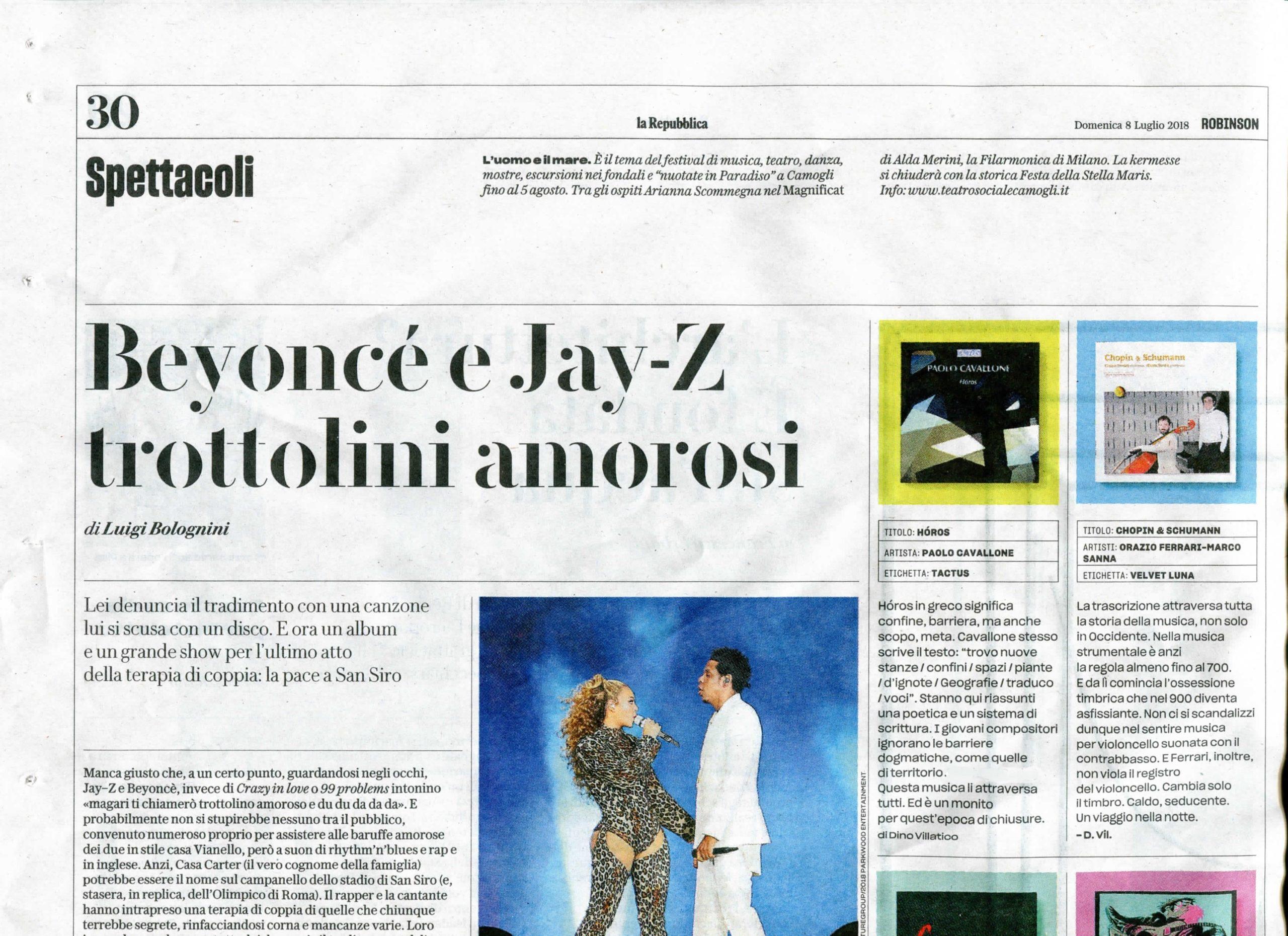 review - La Repubblica, Dino Villatico - July 7, 2018