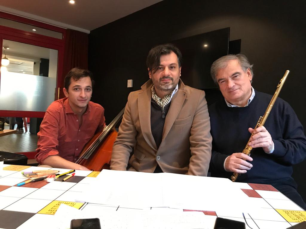 Aurelien Pascal Paolo Cavallone and Roberto Fabbriciani - Rennes - soloists in Metamorfosi d'amore januray 2019