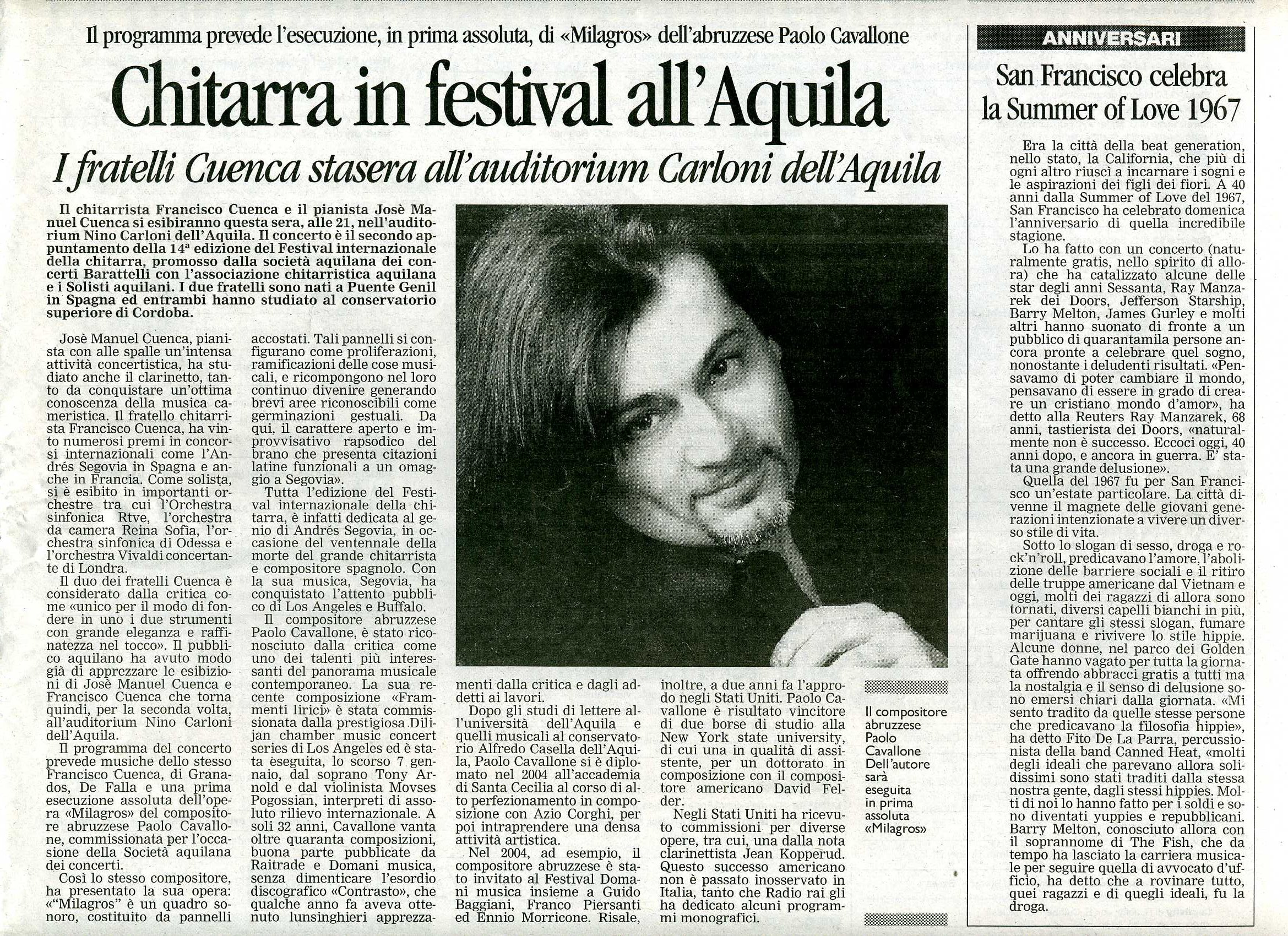 Milagros at L'Aquila's International Guitar Festival
